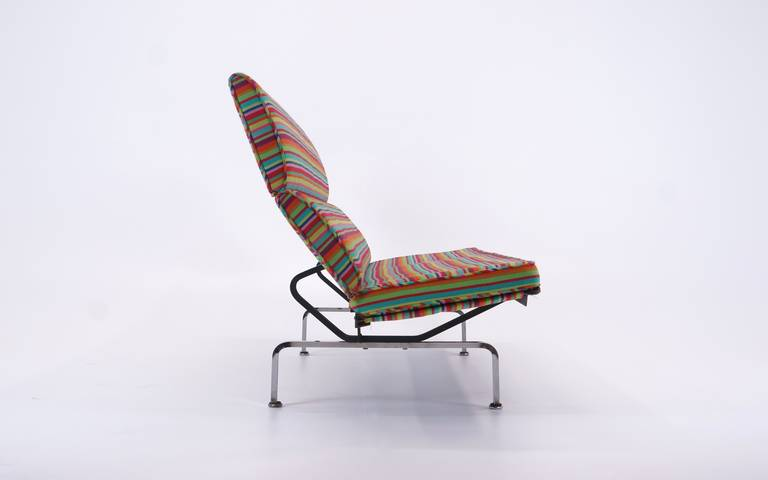 American Charles and Ray Eames Sofa Compact, Alexander Girard Miller Stripe Fabric
