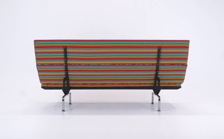 Charles and Ray Eames Sofa Compact, Alexander Girard Miller Stripe Fabric In Good Condition In Kansas City, MO
