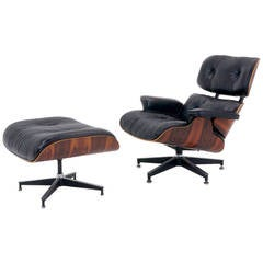 Early Charles and Ray Eames Rosewood Lounge Chair and Ottoman