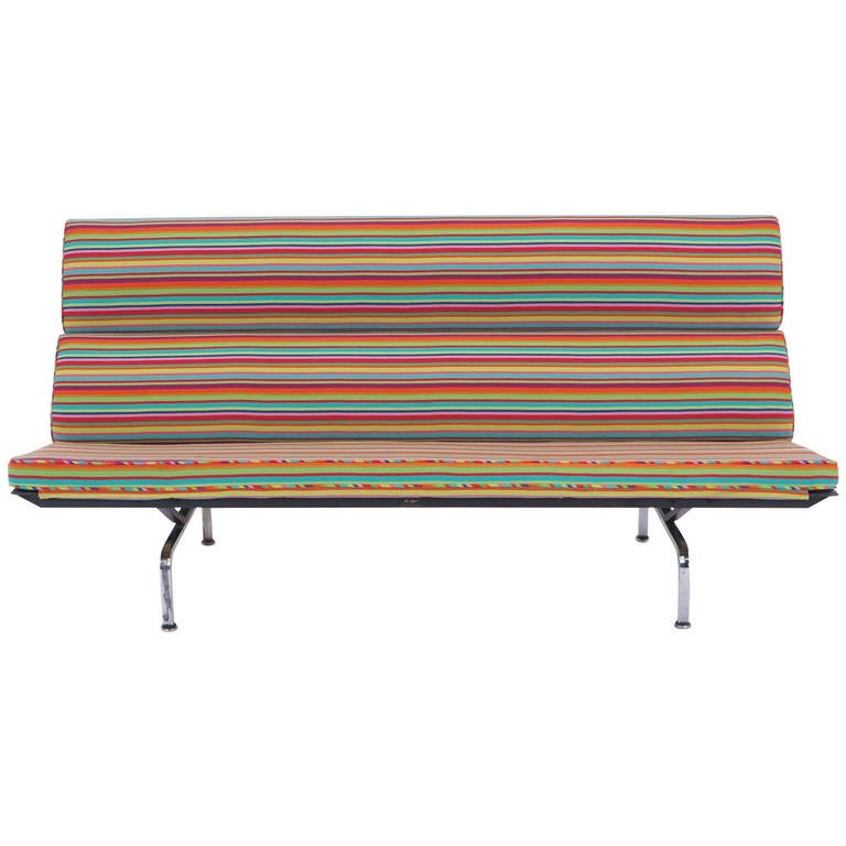 Charles and Ray Eames Sofa Compact, Alexander Girard Miller Stripe Fabric