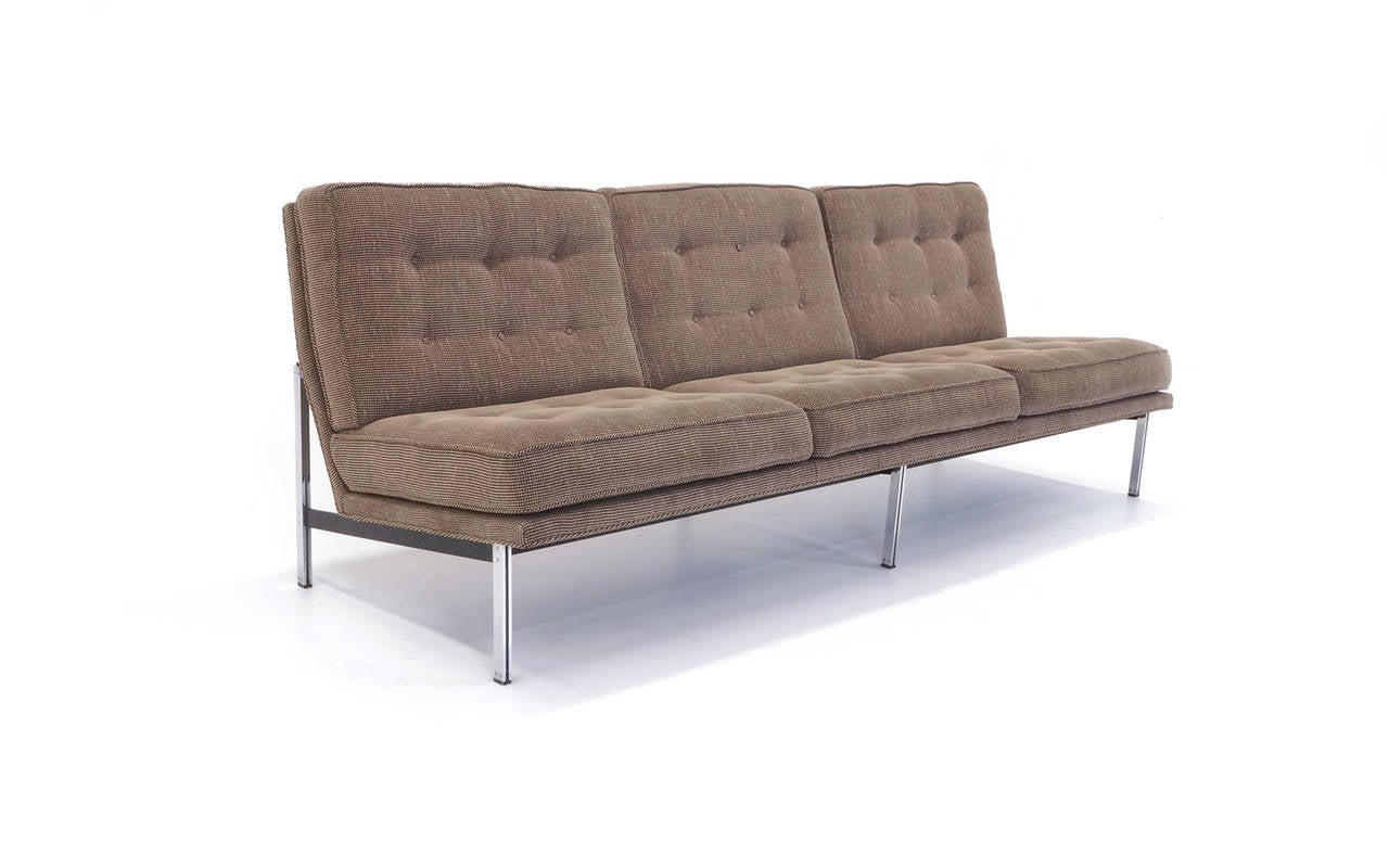 Florence Knoll Parallel Bar Three Seat Armless Sofa at 1stdibs