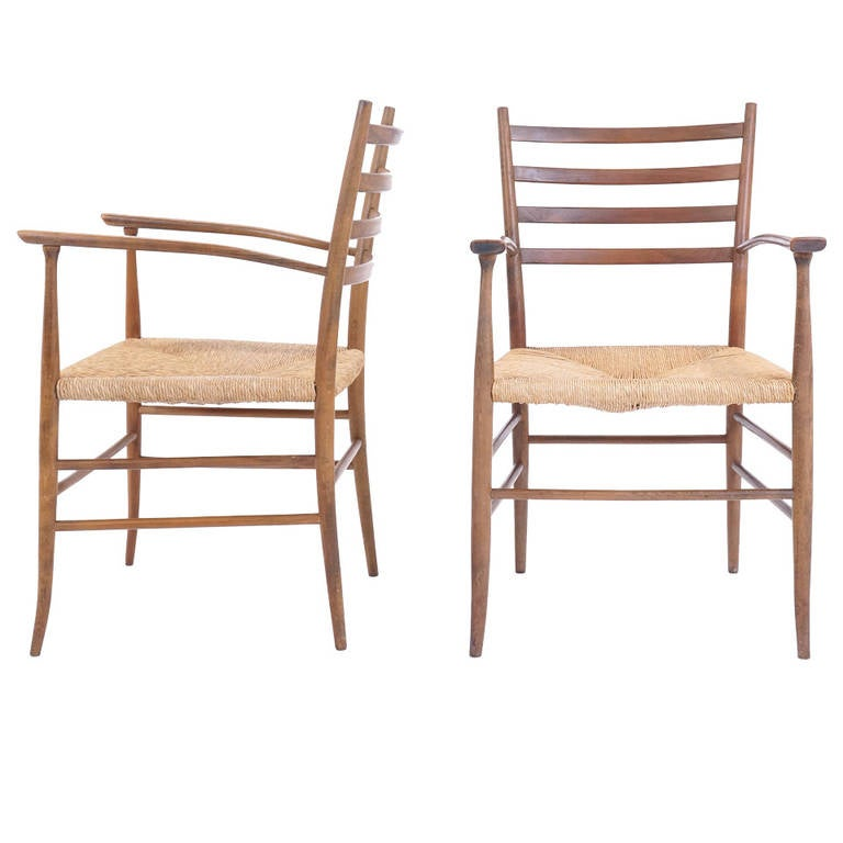 Pair of Ladder Back Chairs in the Style of Gio Ponti Made in
