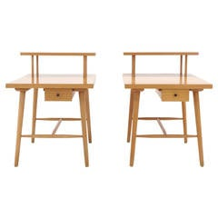 Pair of Paul McCobb step side tables with drawer from the Predictor Group.