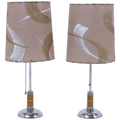 1940s table lamps chrome bakelite original shades for 1940s hollywood studio floor lamp
