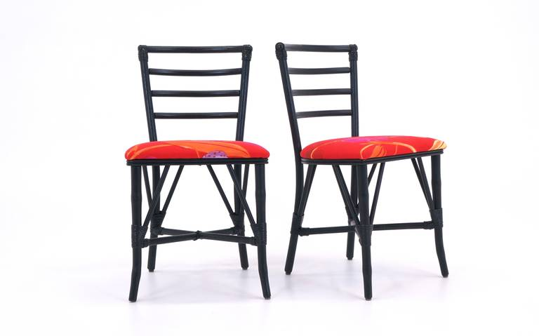 Mid-Century Modern Exceptional Set of Four Vintage Rattan Chairs, Restored For Sale