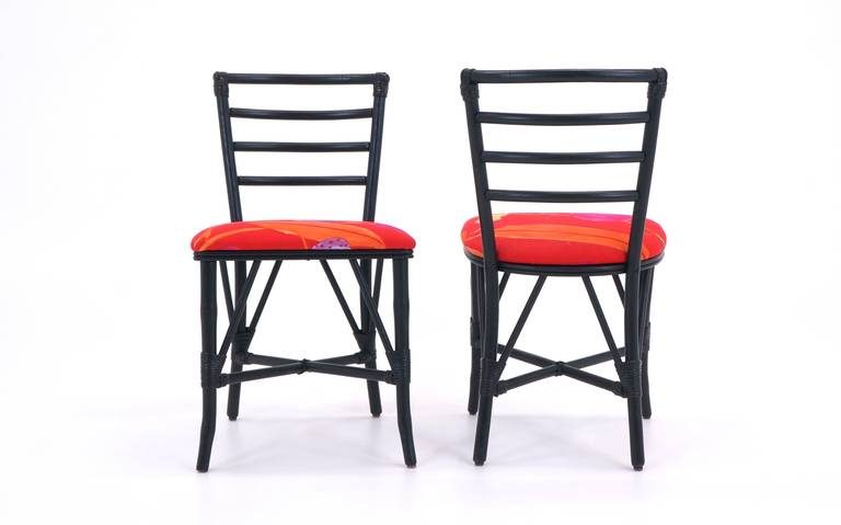 American Exceptional Set of Four Vintage Rattan Chairs, Restored For Sale