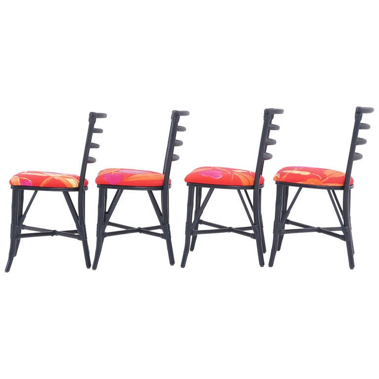 Exceptional Set of Four Vintage Rattan Chairs, Restored For Sale
