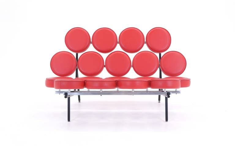 American Red Leather George Nelson For Herman Miller Marshmallow Sofa