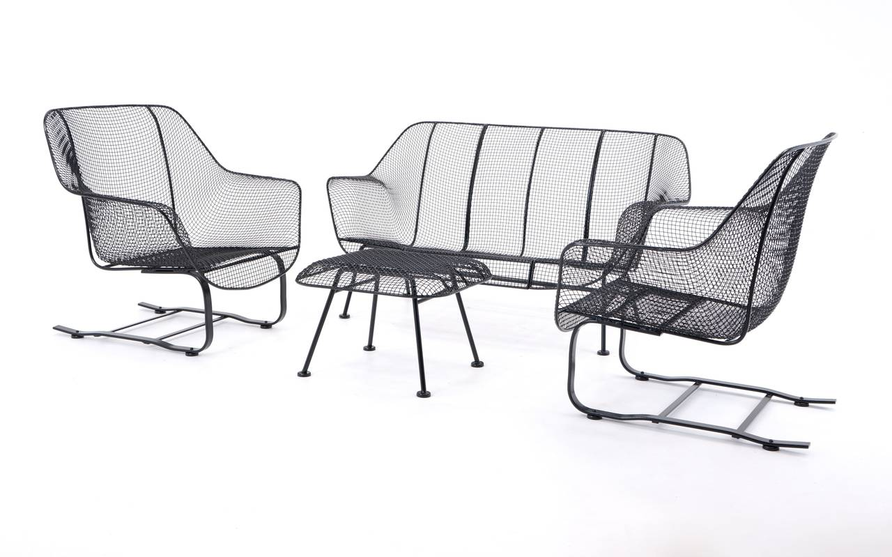 Russell Woodard Sculptura Patio Set With Settee, Lounge Chairs And Ottoman 3