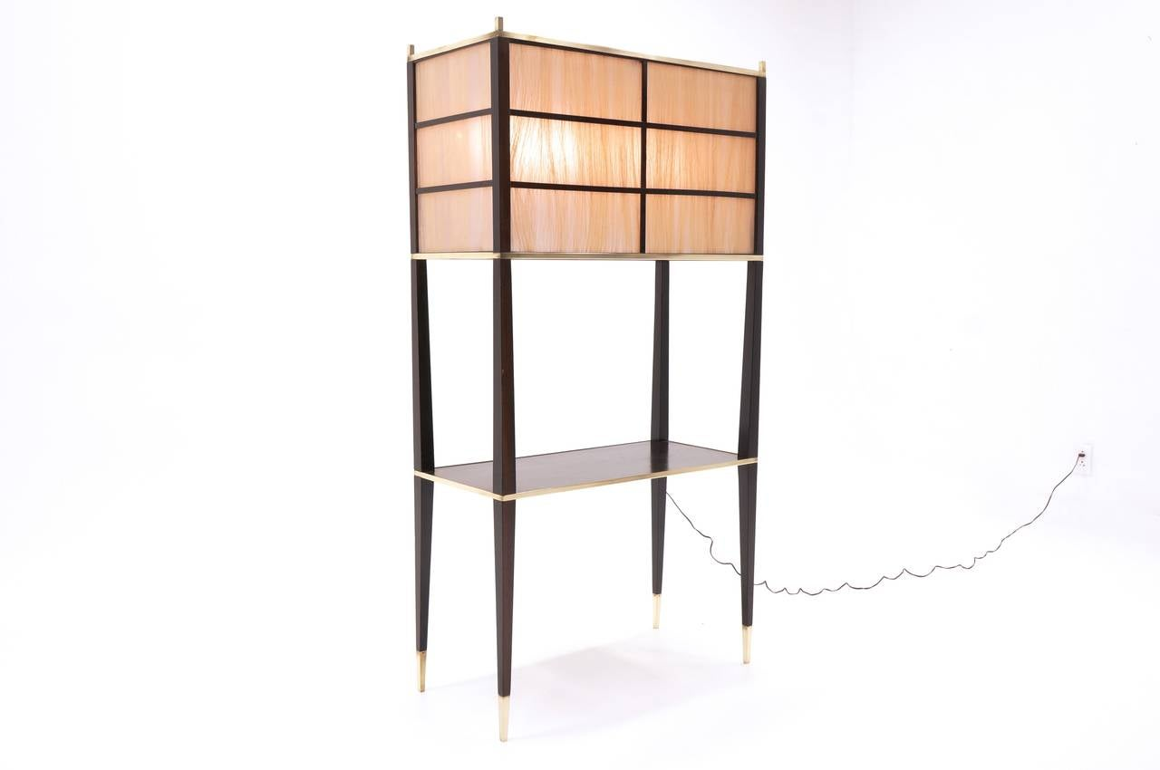 large floor lamp with attached shelf in the style of dunbar or paul. Black Bedroom Furniture Sets. Home Design Ideas