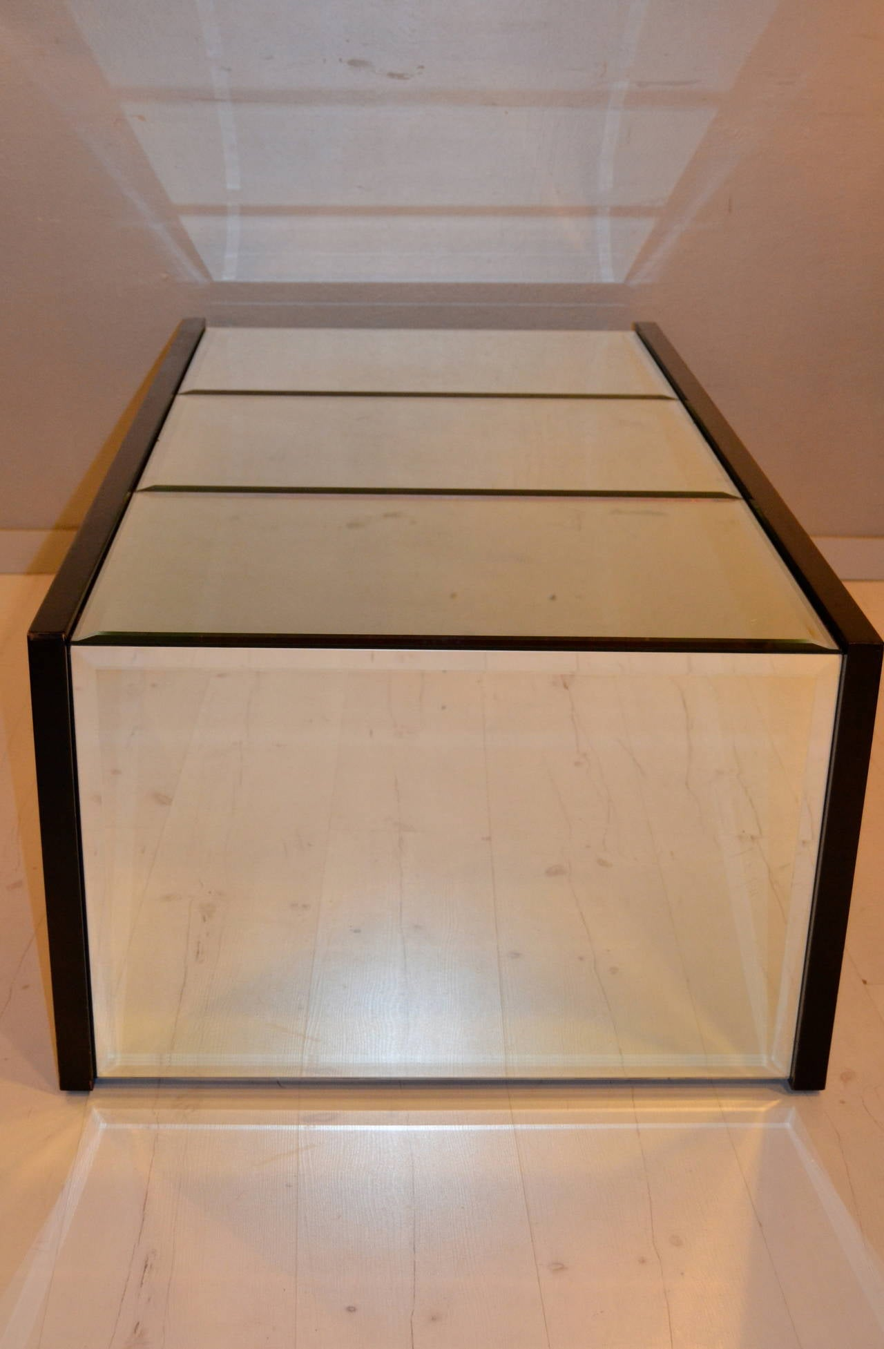 1970s Mirrored Coffee Table in the manner of Jansen For Sale 1