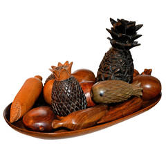 1970S Wooden Handcarved Fruit Tray