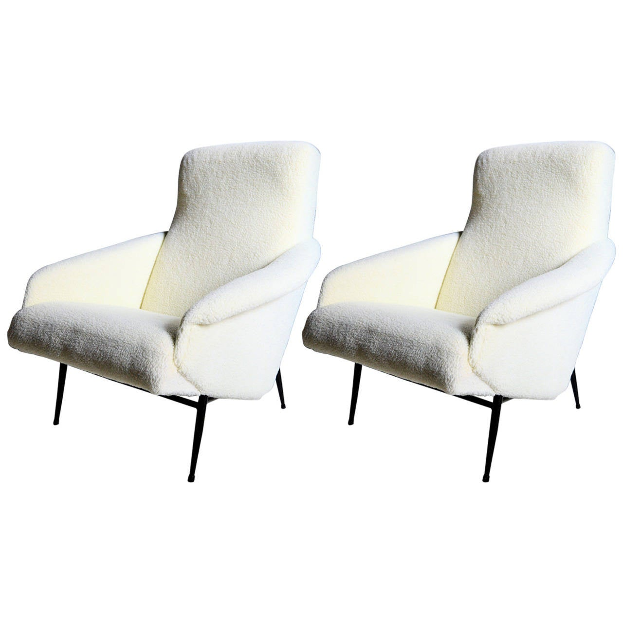 Very comfortable pair of 1950s french reclining leather armchairs - Pair Of 1950s Armchairs By Guy Besnard 1
