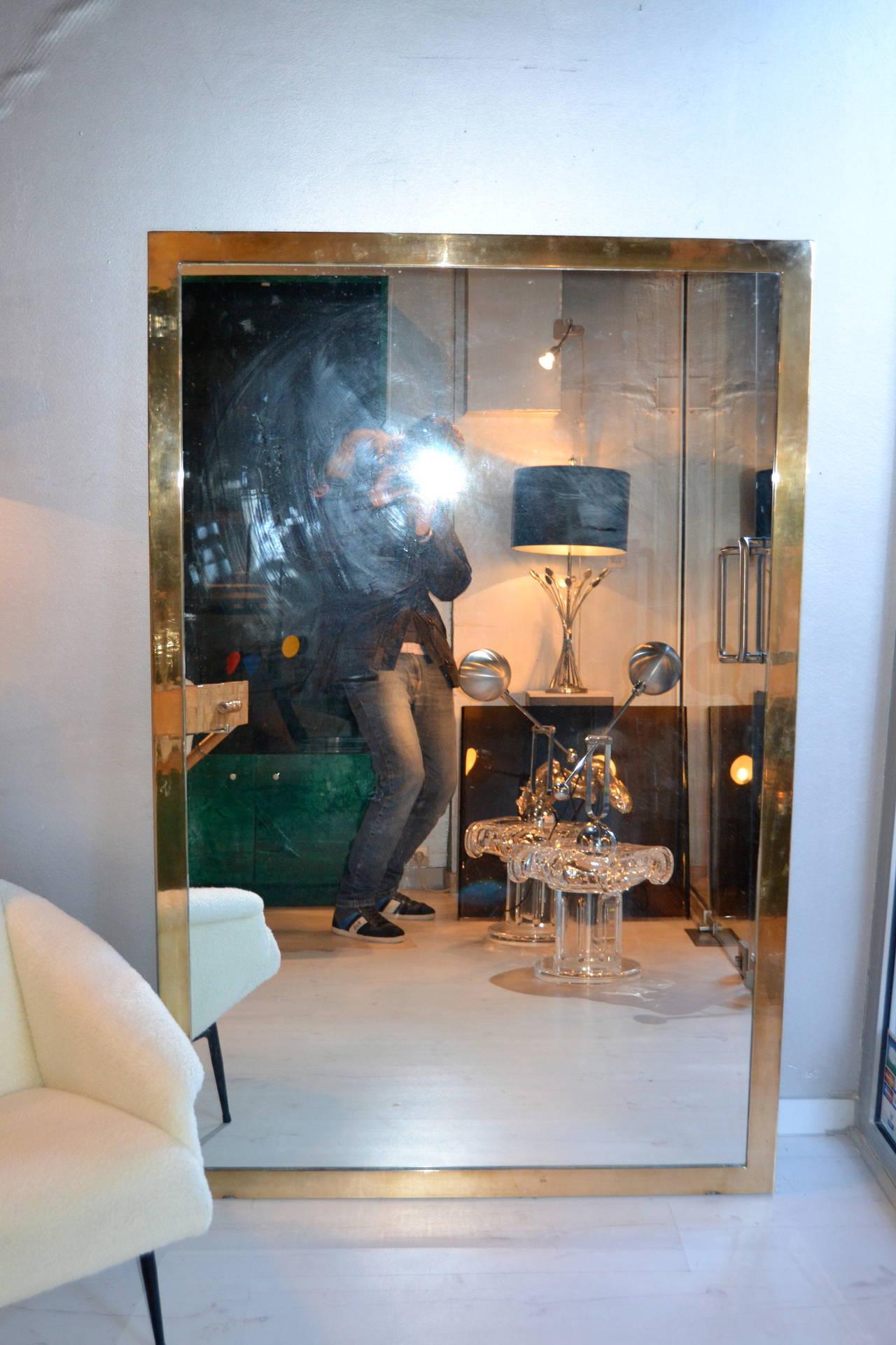 1970s Large Bronze Mirror At 1stdibs