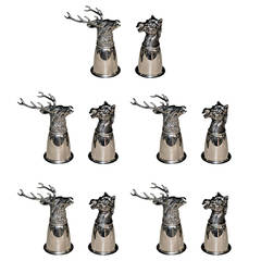 1970s Gucci Silver Plated Deer and Horse Cup Set