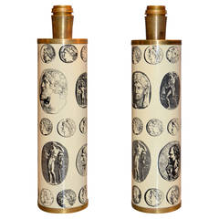 Pair of 1970s Fornasetti Cameo Lamps