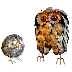 Two 1970s Metal Owls