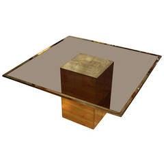 Smoked Glass and Bronze Table by Jenalzi