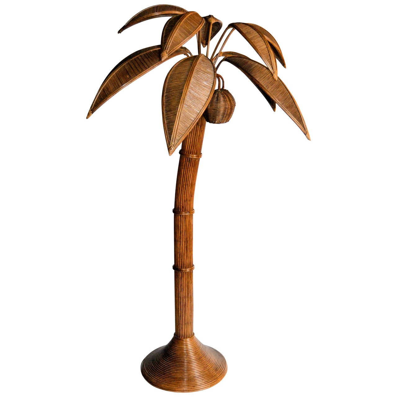 1970s large palm tree floor lamp in bamboo at 1stdibs for Large tree floor lamp