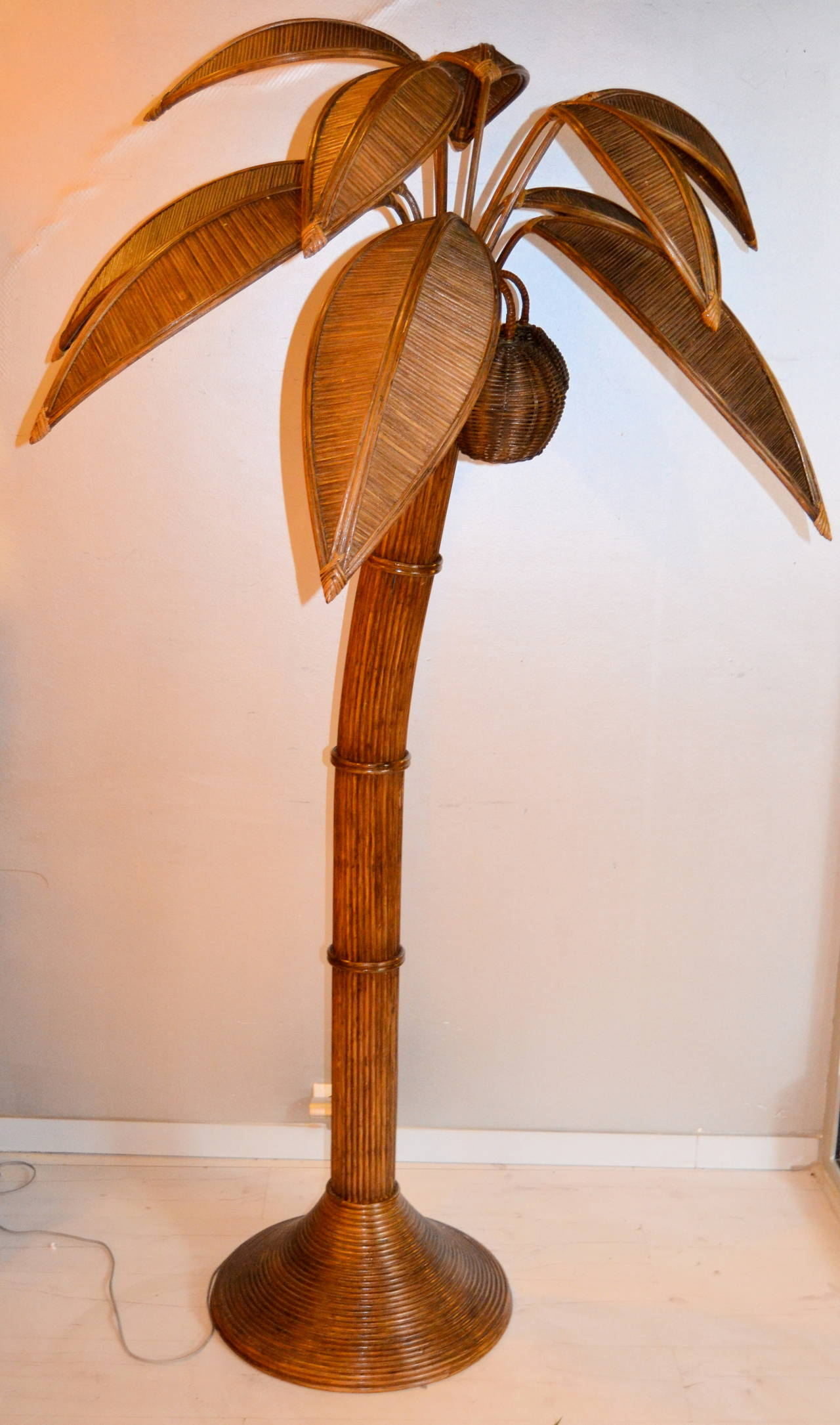 Large Palm Tree Floor Lamp Bamboo Stdibs