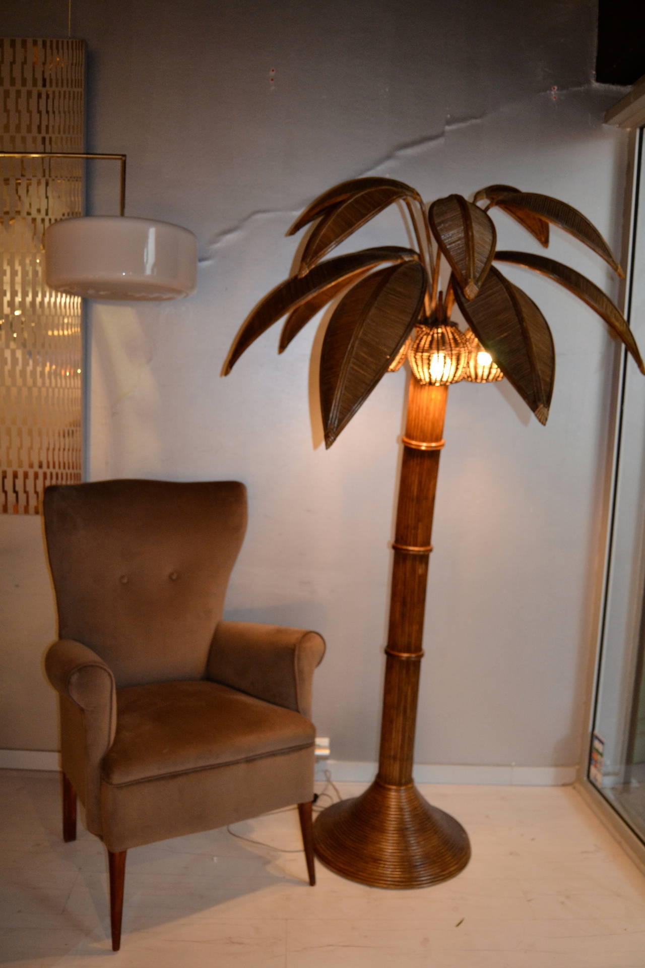 this 1970s large palm tree floor lamp in bamboo is no longer available. Black Bedroom Furniture Sets. Home Design Ideas
