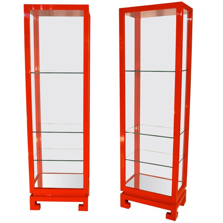 Pair of 1970s Lacquered Shelves