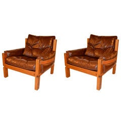 Pair of 1960s Armchairs by Pierre Chapo