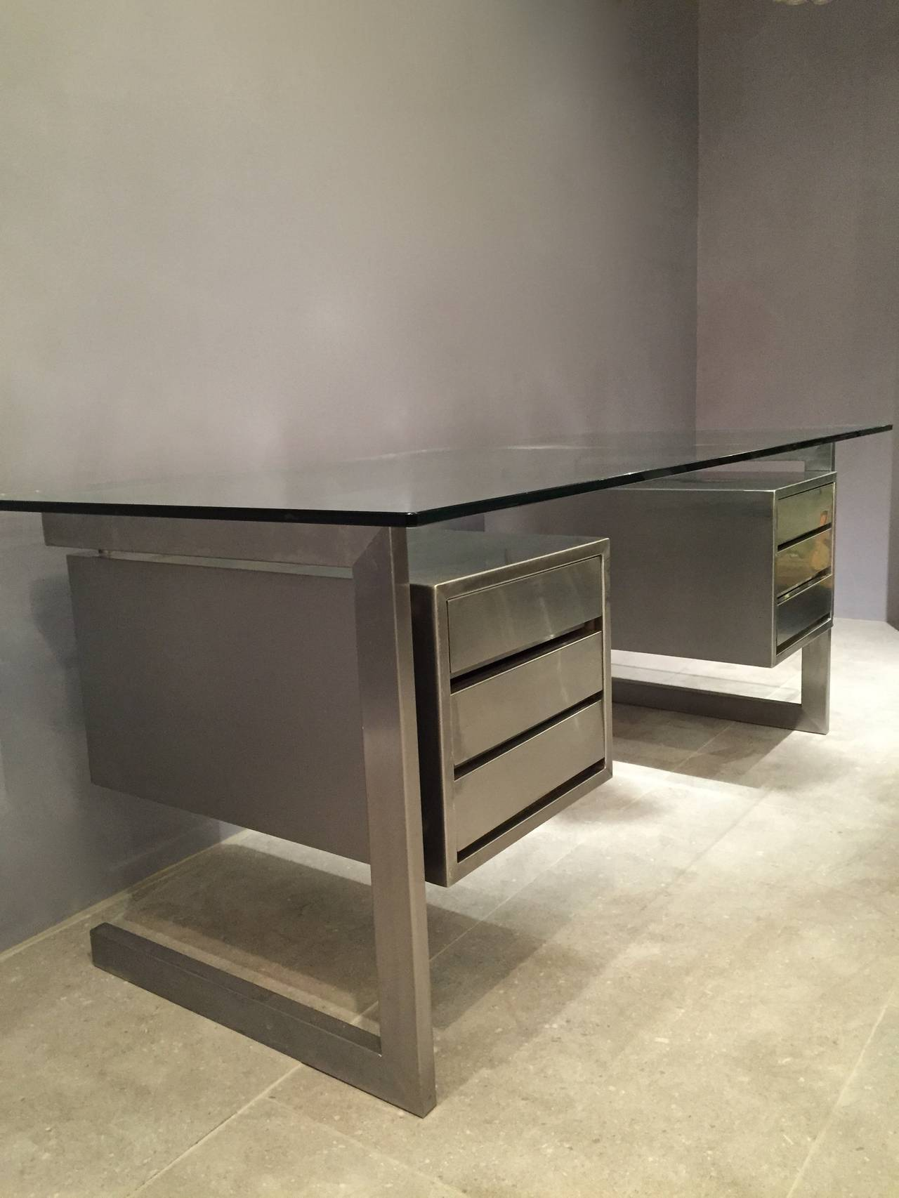 Rare To Find Six Drawers Brushed Stainless Steel Desk In The Style Of Paul Legeard Or