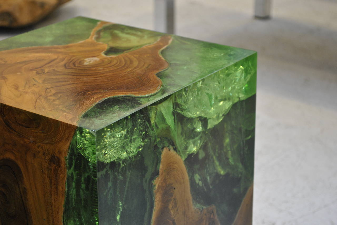 Modern Fractal Resin And Teak Stool Or Side Table 3