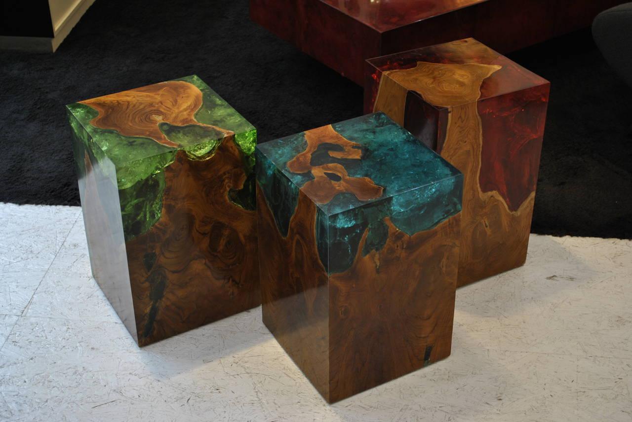 Modern Fractal Resin And Teak Stool Or Side Table At 1stdibs