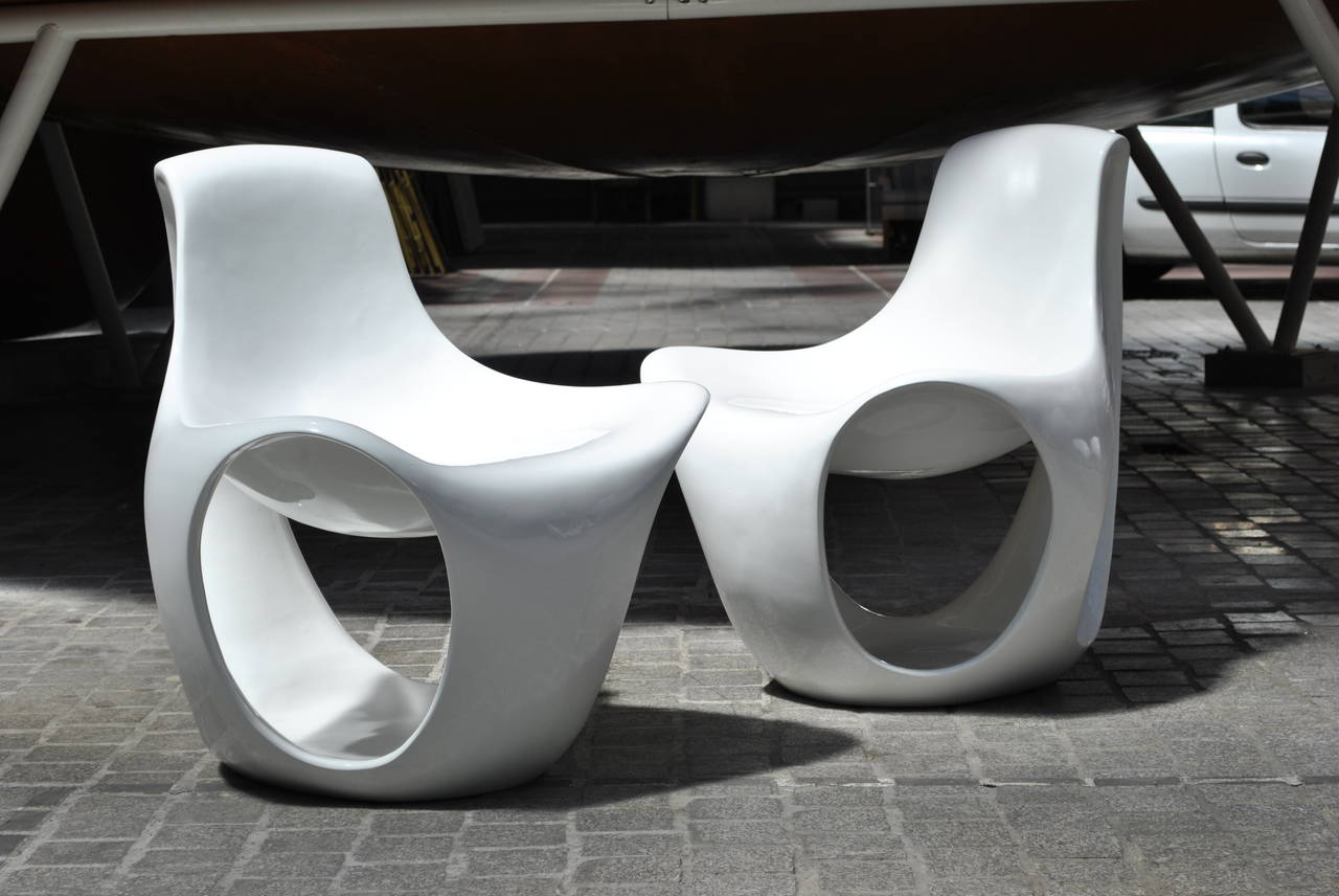 Set Of Six Fiberglass Space Age Lounge Chairs 1970s At