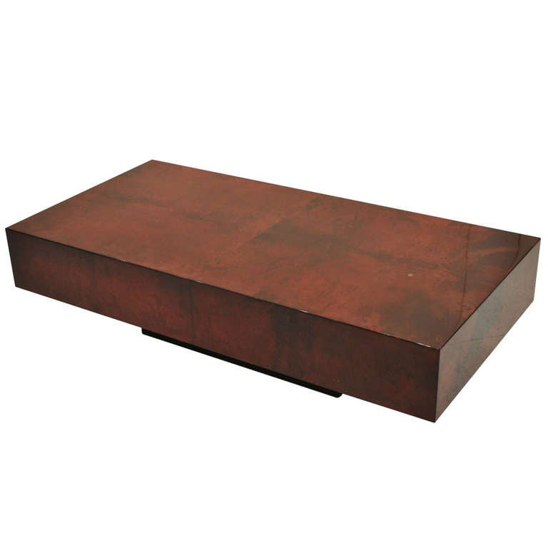 Nice Deep Red Goatskin Parchment Coffee Table By Aldo Tura At 1stdibs