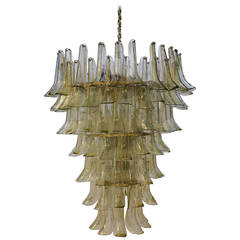 1970s Clear and Green Glass Mazzega Chandelier