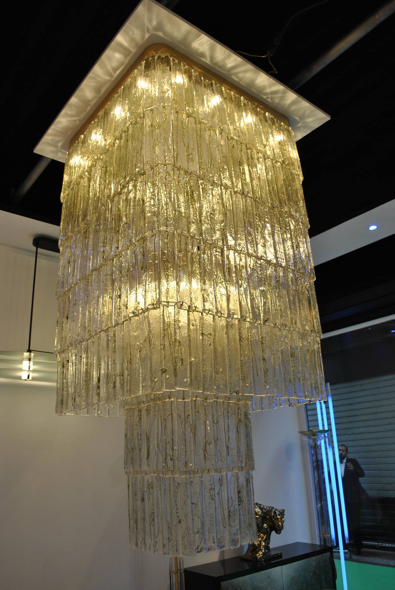 Monumental 1970s Clear and Green Glass Mazzega Chandelier 6