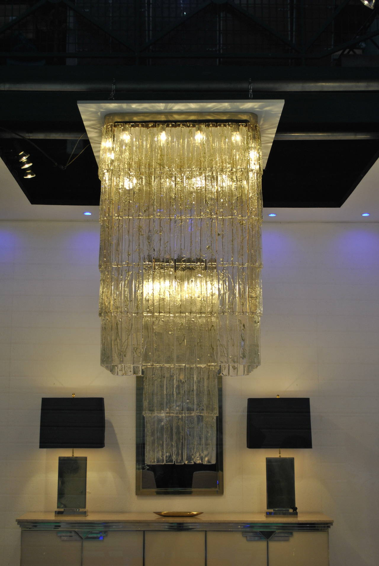 Monumental 1970s Clear and Green Glass Mazzega Chandelier 5