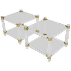 Nice Pair of Gilt Brass and Lucite Side Tables by Romeo Paris