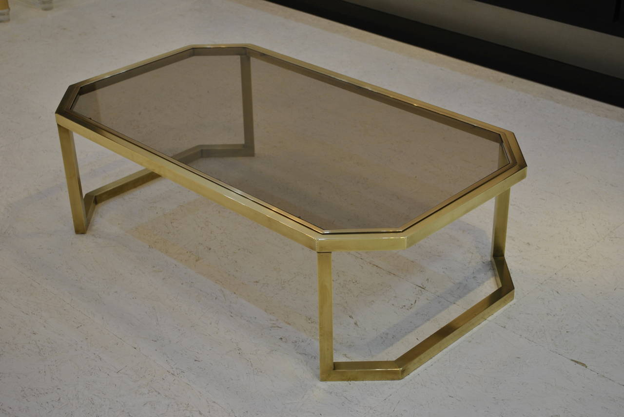 Nice Modernist Brass Coffee Table By Maison Jansen 1970s At 1stdibs