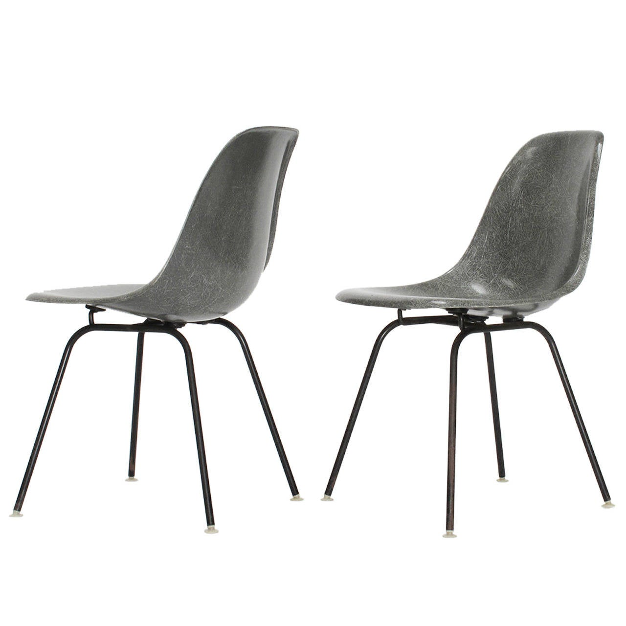 Pair Of Charles And Ray Eames Fiberglass Shell Chairs