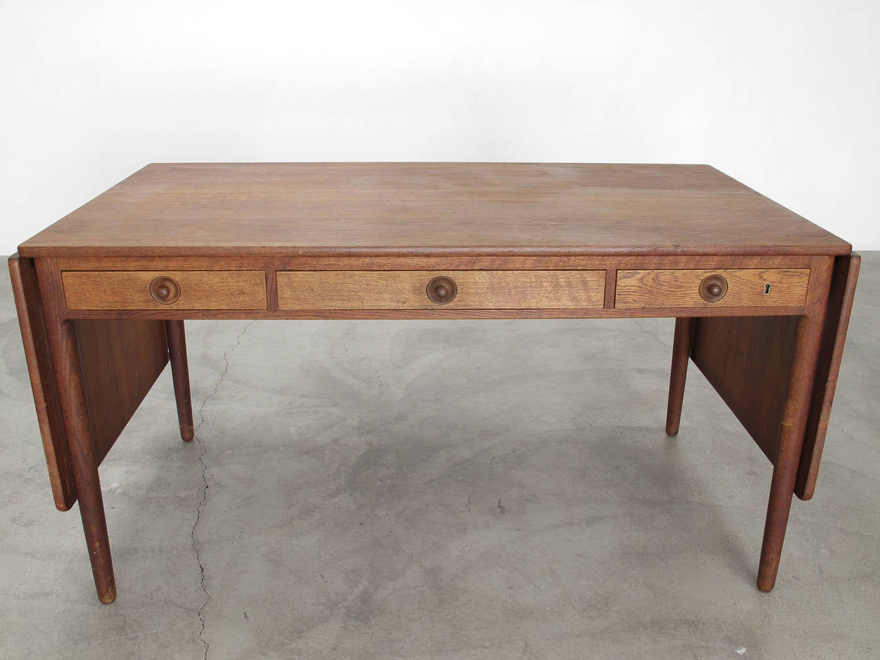 Solid Wood Drop Leaf Desk By Hans J Wegner At 1stdibs