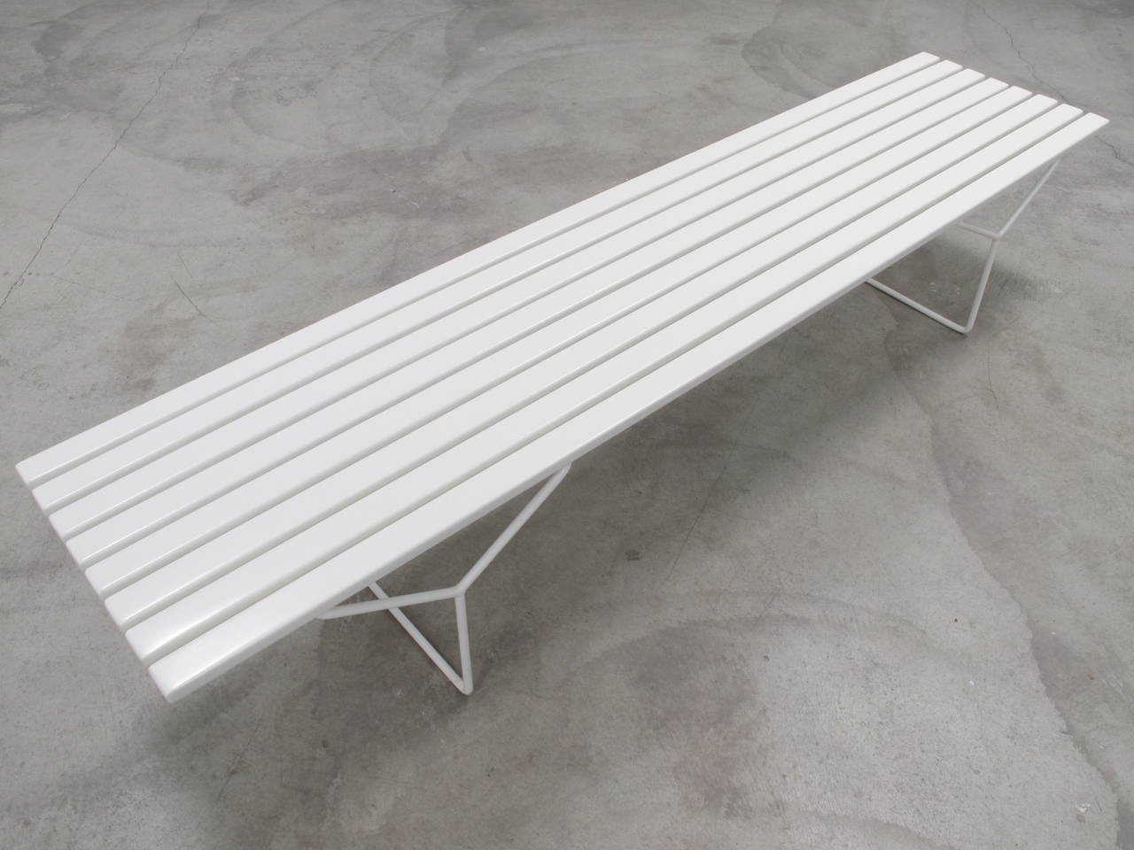 Long Wood Slat Bench By Harry Bertoia At 1stdibs