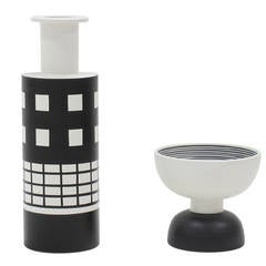 Ettore Sottsass Ceramic Vase and Footed Bowl