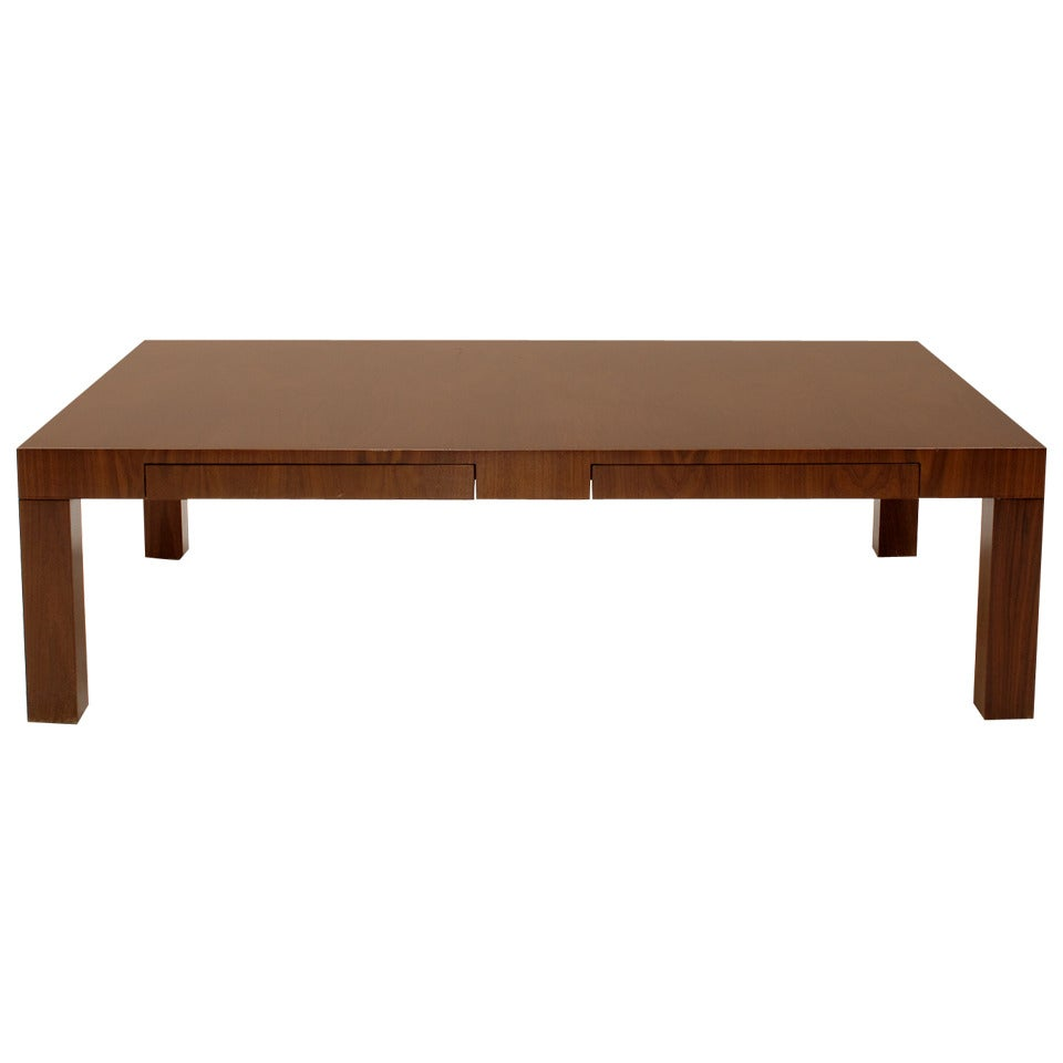 Burl Wood Parsons Style Coffee Table By Milo Baughman At 1stdibs