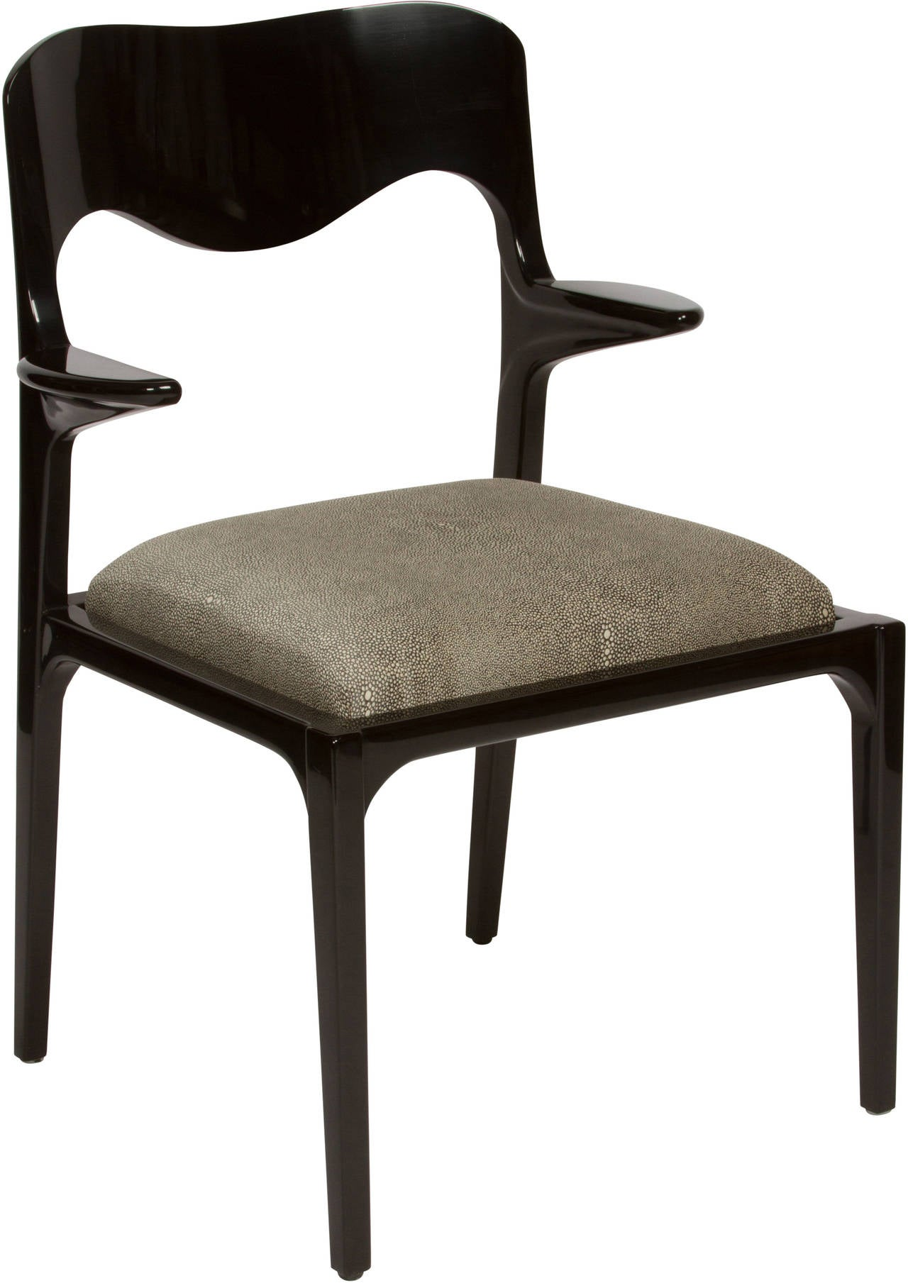 Set of eight black lacquer dining chairs in the style of for 8 dining room chairs