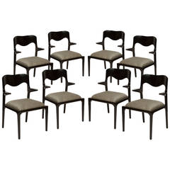 Set of Eight Black Lacquer Dining Chairs in the Style of Samuel Marx