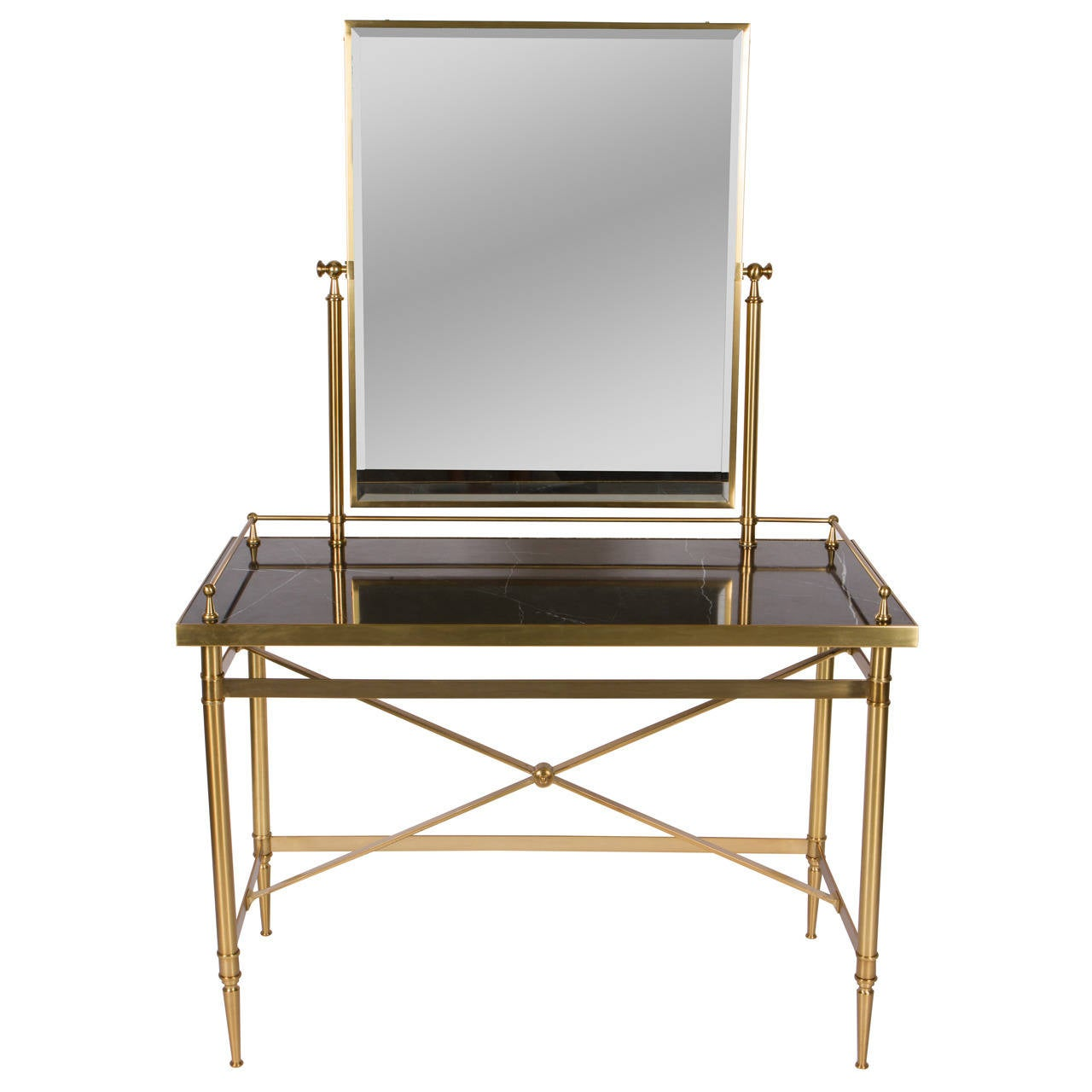 Brass And Glass Vanity Table At 1stdibs
