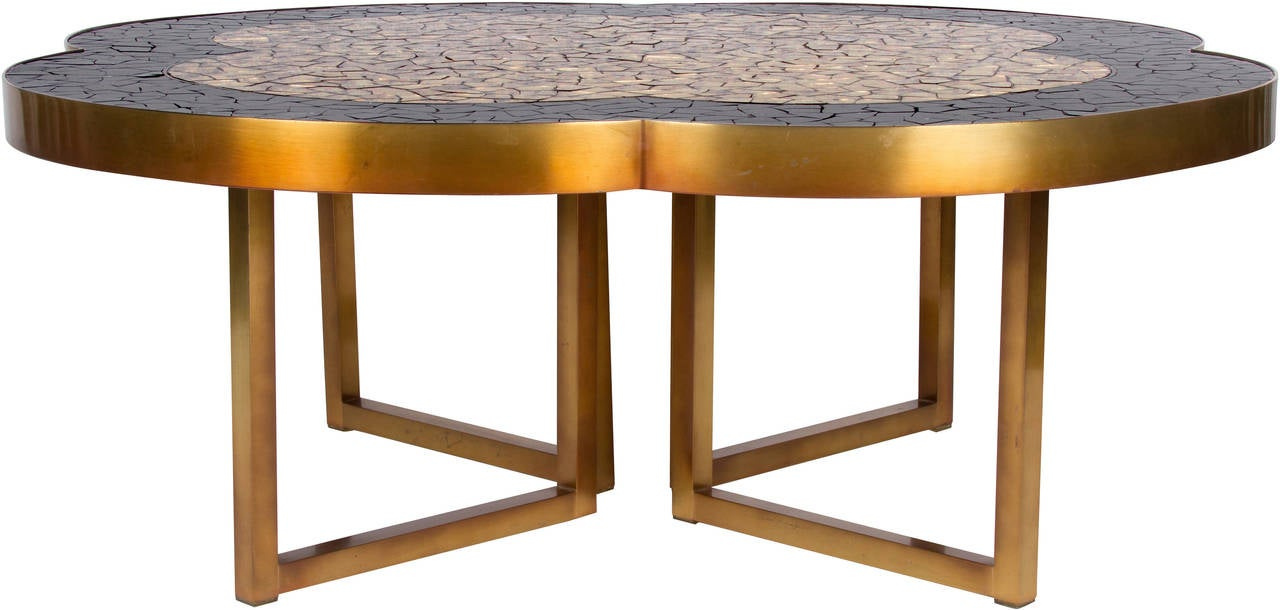 Marvelous Gold Leaf And Black Glass Mosaic Quatrefoil Coffee Table On Bronze Base 3