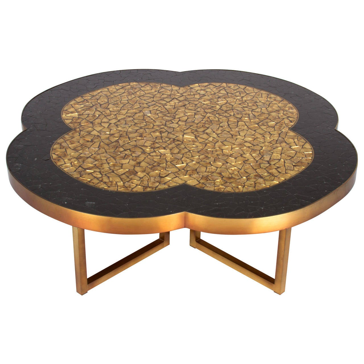 Gold leaf, brass and black glass mosaic quatrefoil coffee table, 1950s