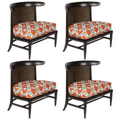 Set of Four Midcentury Barrel Back Lounge Chairs, 1960s