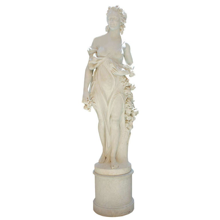French Mid-19th Century White Carrara Marble Statue