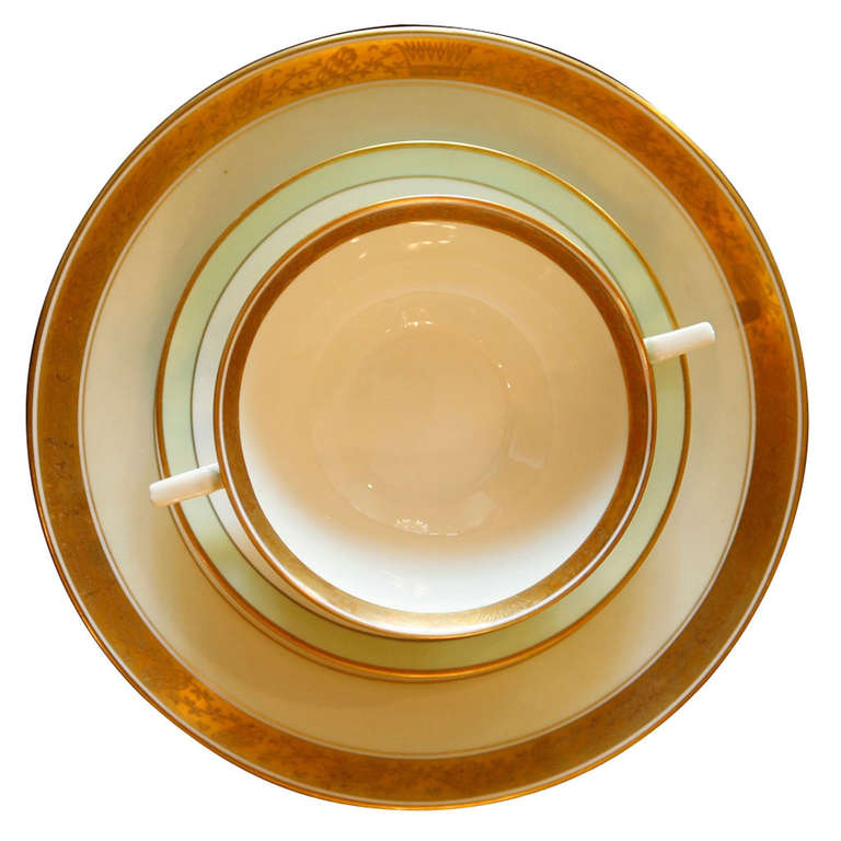 One of the more exclusive dinnerware patterns to leave the factory, the Dagmar pattern was very expensive to produce because of the gold work and the green color. The pattern number is 988 and has a cream base, pale green band and sides, and a gold